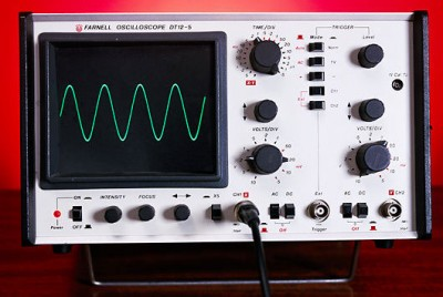 Oscilloscope Displaying Sine Wave